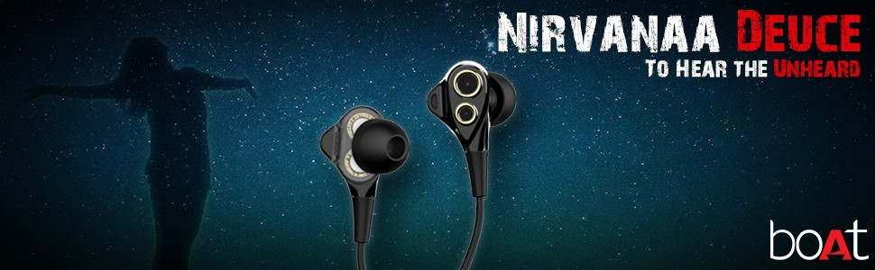 Appease yourself with theboAtNIRVANAA DEUCE Dual Driver earphones & take delight in listening