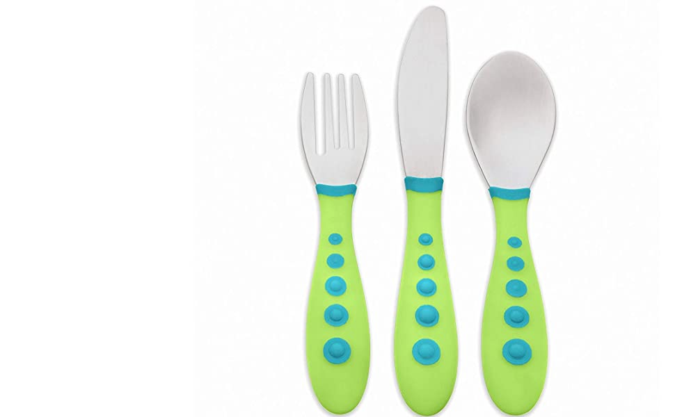 BABY KING SET OF 6 EASY GRIP CUTLERY BPA FREE DISHWASHER SAFE 3 Assorted Colors