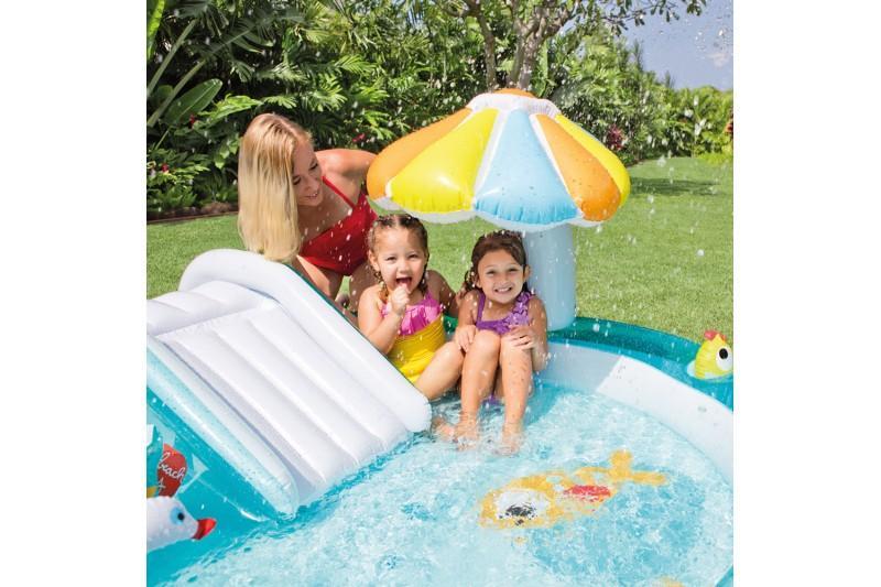 Intex piscina hinchable y tobog n y pulverizador 203 x - Amazon piscinas hinchables ...
