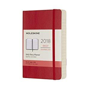 Moleskine- Agenda diaria de bolsillo 2018, tapa dura, 9 x 14 cm, negro