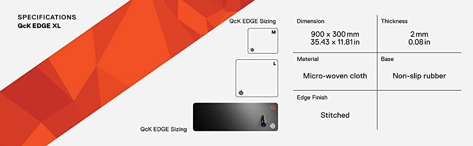 SteelSeries QcK Edge, Cloth Gaming Mouse Pad