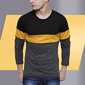 21d8befd2 Urbano Fashion Men's Black, Grey, Yellow Round Neck Full Sleeve T ...