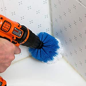 revoclean, revo clean, tile, grout clean, dirty grout, grout brush, drillbrush, drill brush