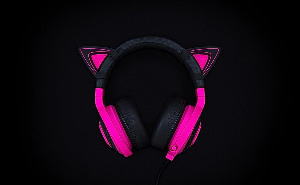 Kraken TE Headsets Adjustable Straps Water Resistant Construction Razer Kitty Ears for Kraken Headsets: Compatible with Kraken 2019 Neon Purple