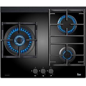 Teka CGW LUX 60 3G AI AL TR - Placa de cocción a gas (Incorporado, Vidrio, Giratorio, Frente, 1.2m), Negro