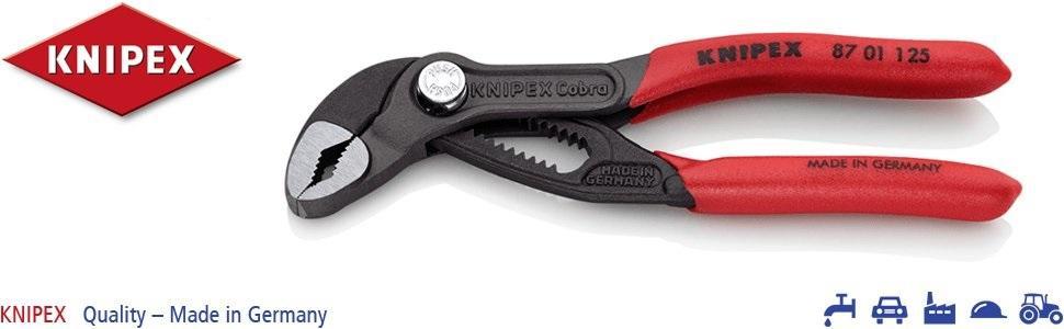 KNIPEX 87 01 125 Cobra Tenaza para bombas de aguamangos recubiertos de plástico, 125 mm
