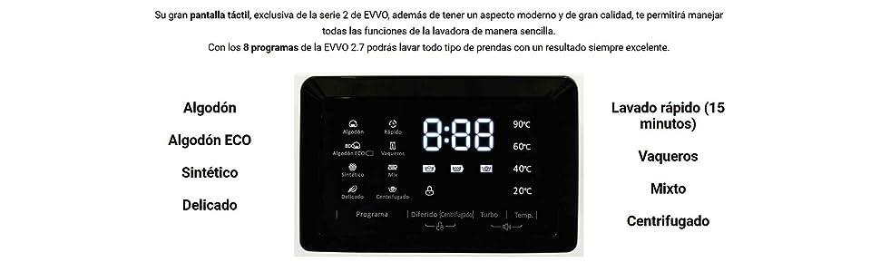 EVVO 2.7 - Modelo 2.7 Lavadora de Carga Frontal de 7 KG y 1400 RPM ...