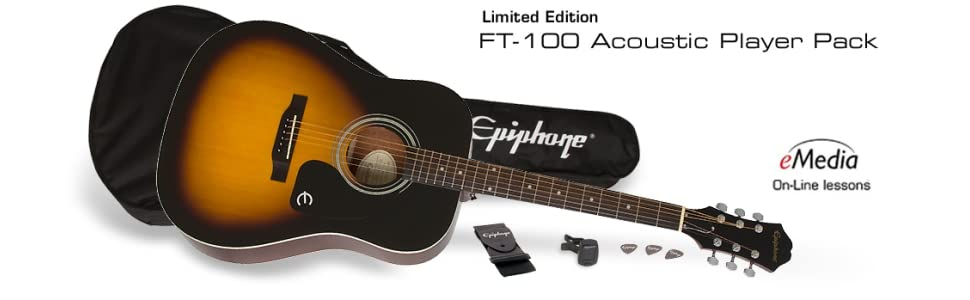 Epiphone FT-100 Player Pack - Pack guitarra acústica, color bronce ...