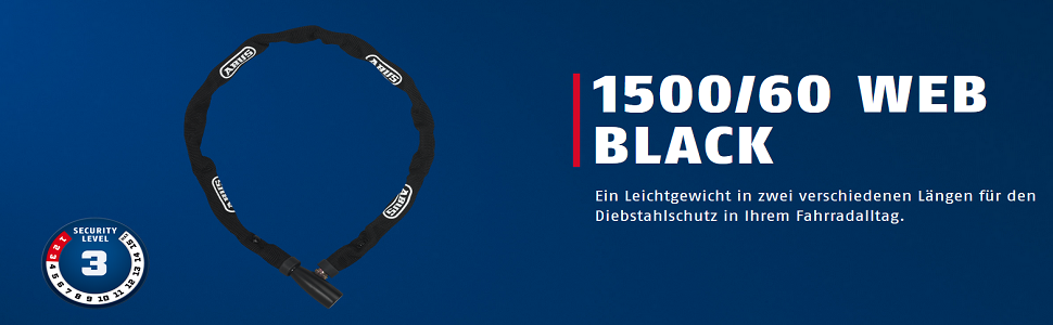 ABUS Kettenschloss 1500 Web black//schwarz 110cm NEU!