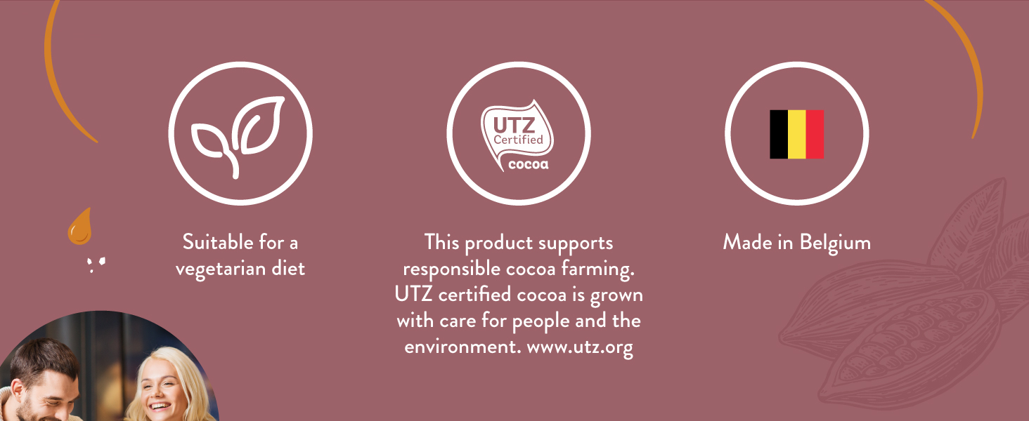 Suitable for a vegetarian diet. This product supports responsible cocoa farming.