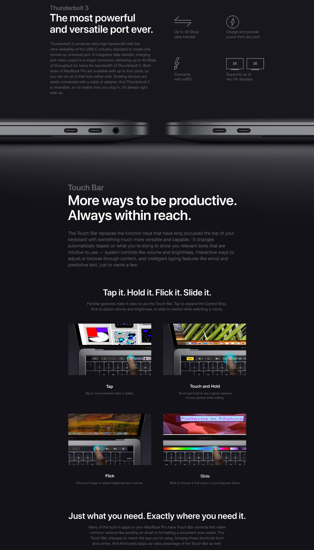 Apple MacBook Pro (15-inch Retina, Touch Bar, 2 2GHz 6-Core Intel Core i7,  16GB RAM, 256GB SSD) - Space Gray