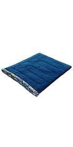 寝袋 ファミリー2in1 C5 使用可能温度5度 封筒型(ブルー)