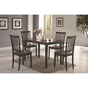 Coaster 5 Piece Dining Set, Wood Table Top With 4 Chairs