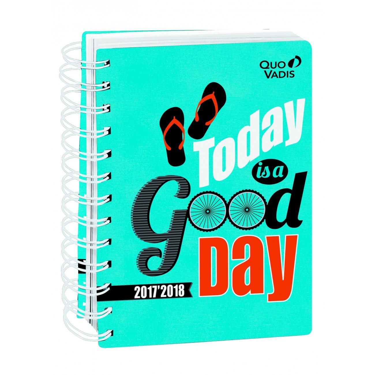 Quo Vadis 1281021Q - Agenda Escolar con espirales 2017-2018 Día/página, con espirales, Positive, color Azul