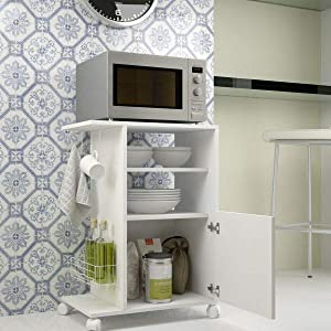 BRV Moveis Kitchen Organizer With Two Shelves and One Cabinet, White