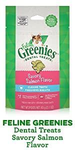 Feline Greenies Dental Treats, Cat Treats, Savory Salmon Flavor, Oral Care, Toothbrush