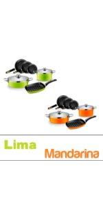 Monix Lima - Paellera 32 cm de acero esmaltado verde con ...