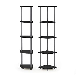 Furinno 2-99811EX//BK Turn-N-Tube 5-Tier Corner Multipurpose Display Shelves Set of 2