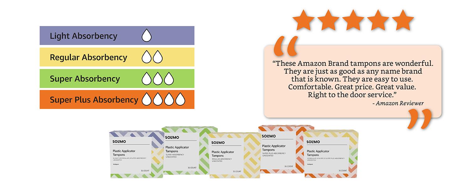solimo, tampons, multipack, light absorbency, medium absorbency, super absorbency