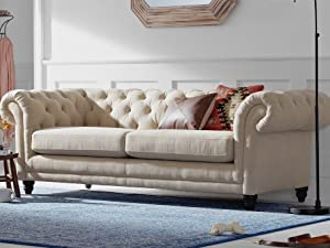 Stone amp; Beam Bradbury Chesterfield Tufted Roll arm living room collection