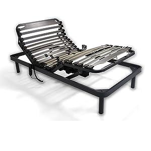Duermete Cama Eléctrica Articulada Reforzada 5 Planos + Colchón Viscoelástico Dorsal Visco, Gris, 90x190