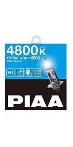 PIAA ( ピア ) ハロゲンバルブ 【アストラルホワイト 4800K】 車検対応 1年間保証 H1 12V55W 2個入り