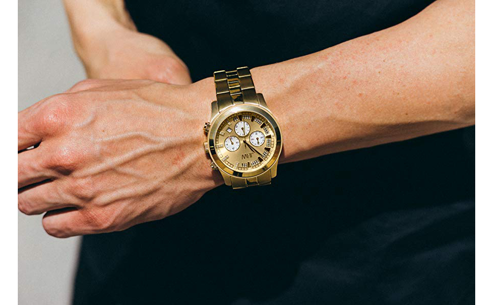 JBW Delano Men'S 22 Diamonds Chronograph With Date Gold-Plated Stainless Steel Watch [Jb-6218-E]