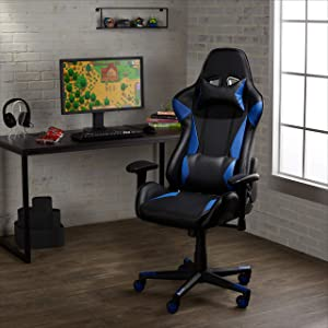 AmazonBasics High-Back PU-Leather Gaming Chair with Adjustable Arm and Lumbar Support