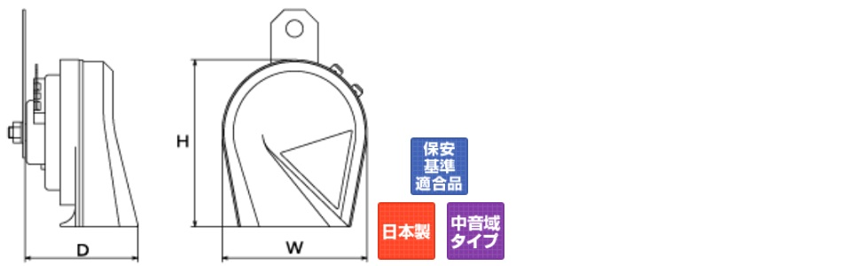 MITSUBA [ ミツバサンコーワ ] プラウド ブラック [ クラクション ] ホーン [ 品番 ] HOS-02B