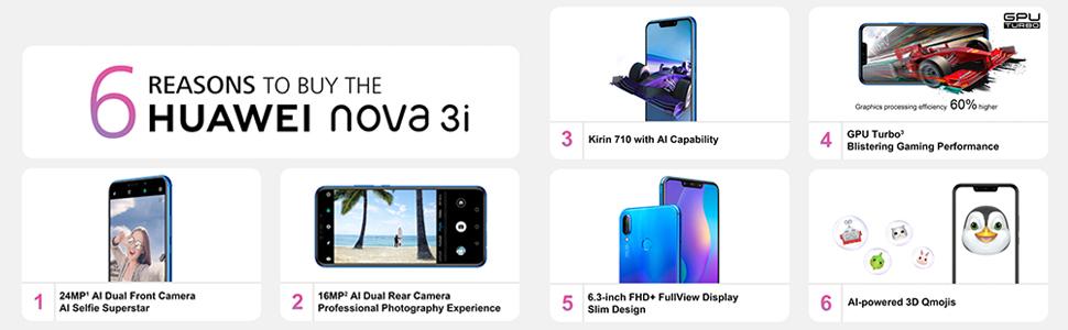 Huawei Nova 3i Dual SIM - 128GB, 4GB RAM, 4G LTE, Iris
