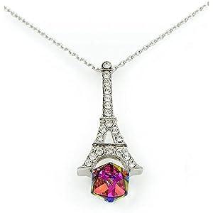 Swarovski Elements Women's 18K White Gold Plated Pendant Necklace - SWR-160