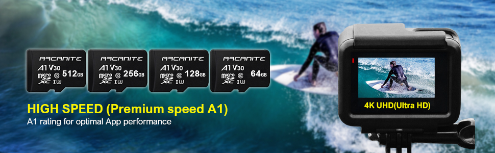 ARCANITE - Tarjeta de memoria microSDXC de 128 GB Clase 10, 90 MB/s