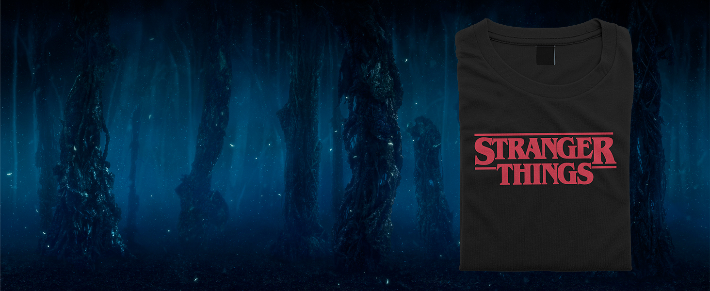 Stranger Things Logo on a Black T-shirt in front of the Upside Down scenery in the background