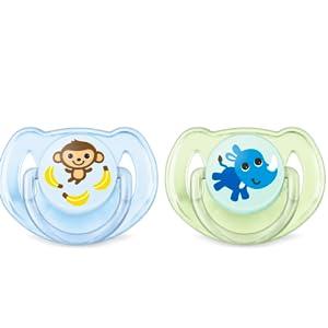 Philips Avent Classic - Set de 2 chupetes decorados, para niñas de 0 a 6 meses, multicolor