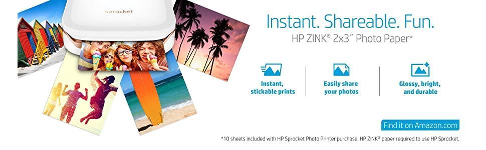 sprocket; paper; zink; mobile; printing; hp