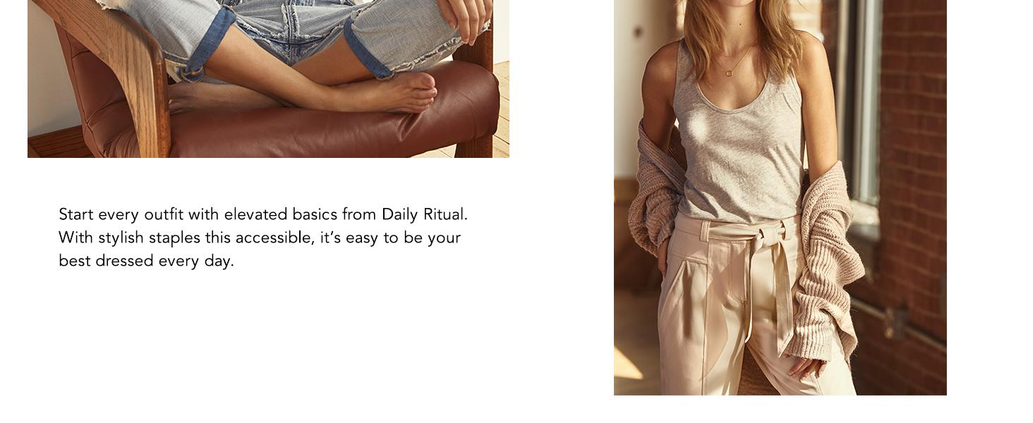 Marca Daily Ritual su/éter con capucha con cord/ón de ajuste para mujer ultrasuave