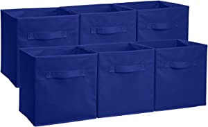 Amazon Basics - Cubos de almacenamiento plegables (pack de 6), Azul marino
