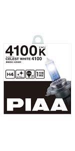 PIAA ( ピア ) ハロゲンバルブ 【セレストホワイト 4100K】 車検対応 1年間保証 H4 12V60/55W 2個入り HX601 HX601