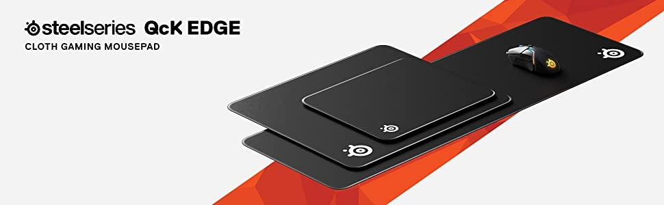 SteelSeries QcK Edge, Cloth Gaming Mouse Pad, Never-fray Stitched Edges, Optimized For Gaming