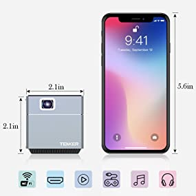 TENKER [S6] Mini Cube Pico Projector with Wi-Fi Supports Android and iOS Devices - HK Shared Dream