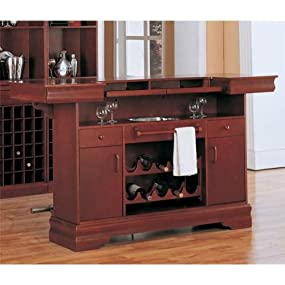 Coaster Traditional Cherry Finish Bar Unit With Wine Rack Sink Drawers