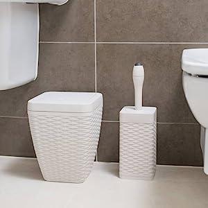 Nozha Trade WELLE 2-Piece Stylish BATHROOM SET Rattan Square Bathroom Set Includes Swing bin /& Toilet Brush