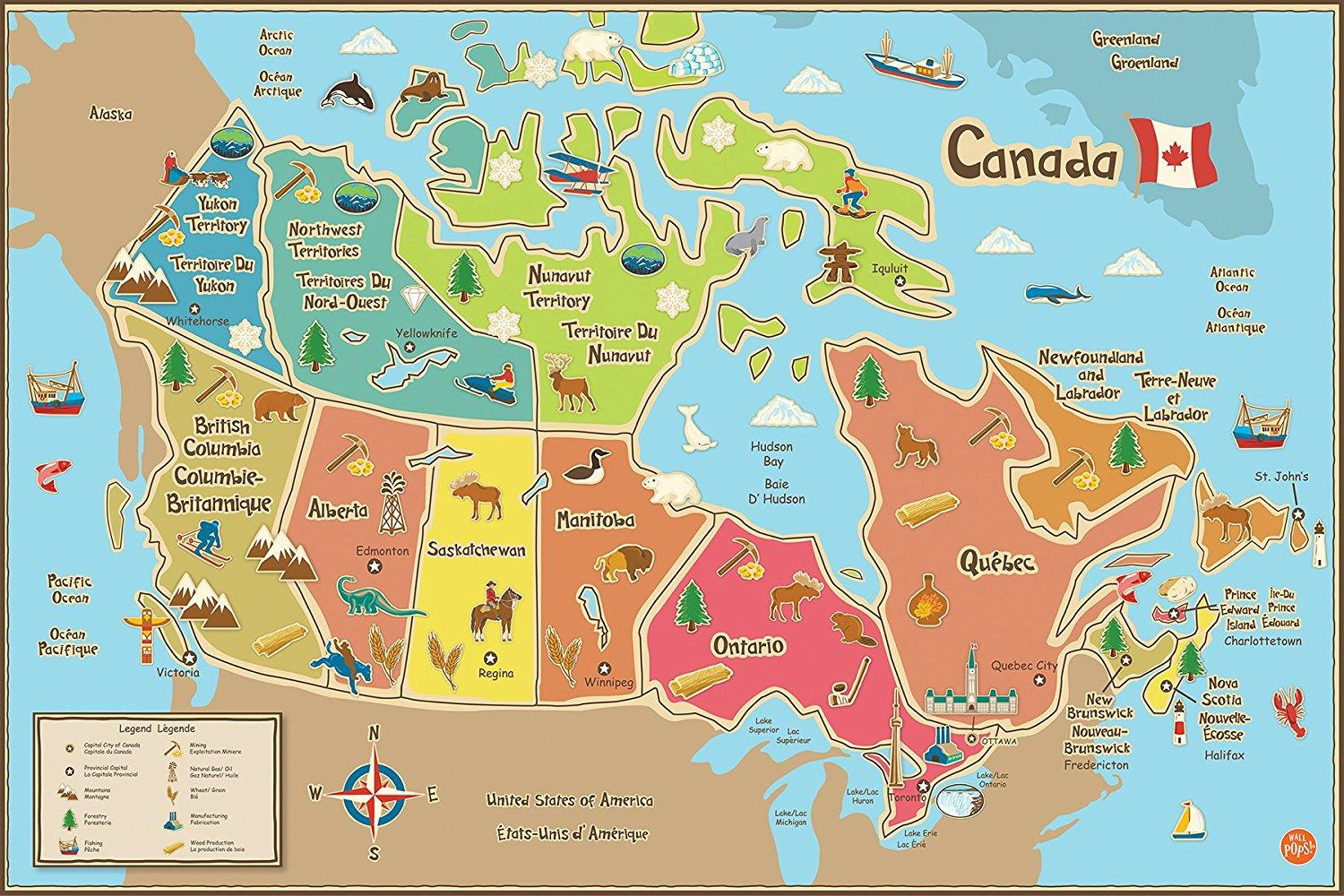 Map Of Canada Kids.Wallpops Wpe1391 Kids Canada Dry Erase Map Decal Multi Color