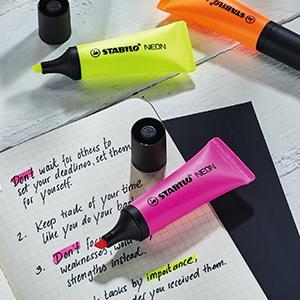STABILO, STABILO NEON, highlighter, highlighting, school, teacher, pupils, tube shape, studying