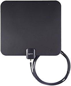 Amazon Basics - Antena plana de televisión, para interior - Rango de 56,3 km