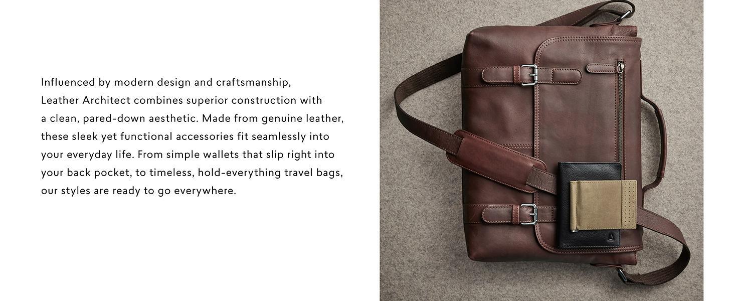 f500418ca Amazon.com: LEATHER ARCHITECT- 100% Leather Men's Duffel Bag-Black ...