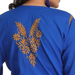 655e2c54ba ADA Hand Embroidery Lucknow Chikankari Regular Wear Cotton Kurti ...