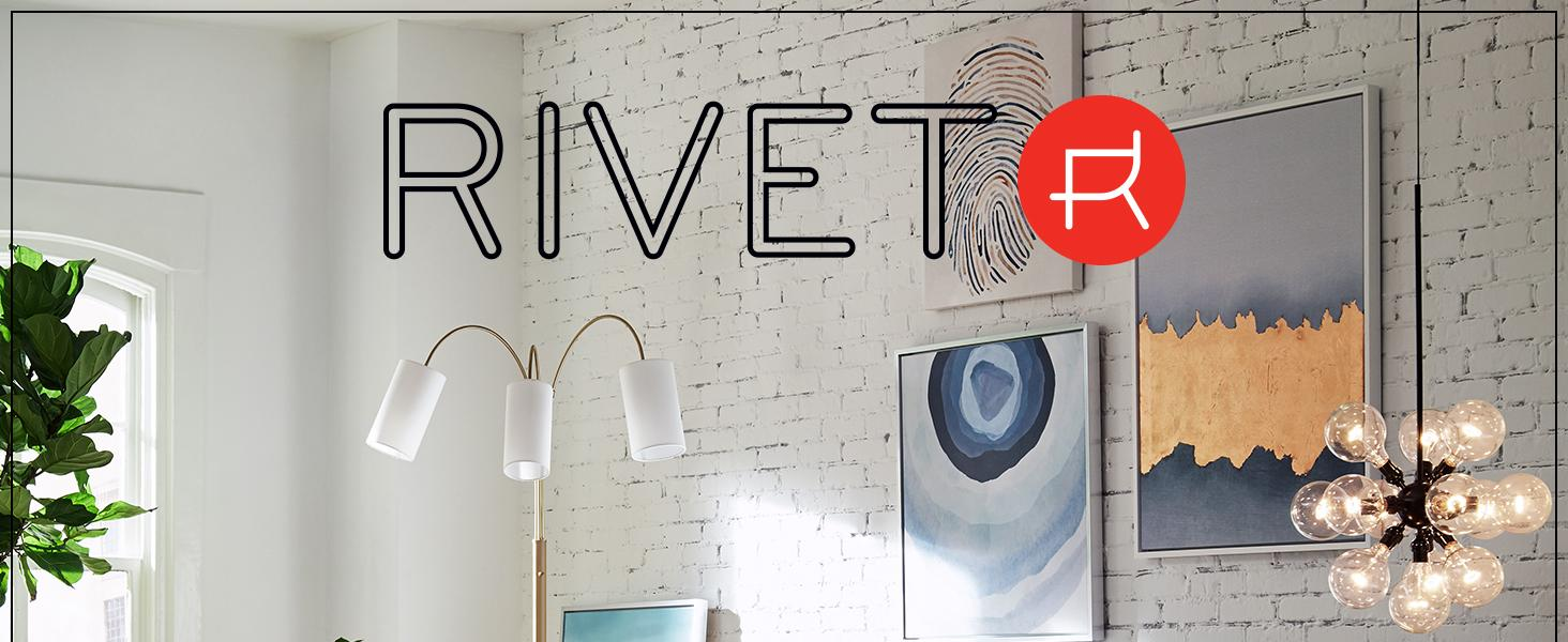 Rivet, home furnishings, small space, studio, apartment, lighting, mid-century, industrial