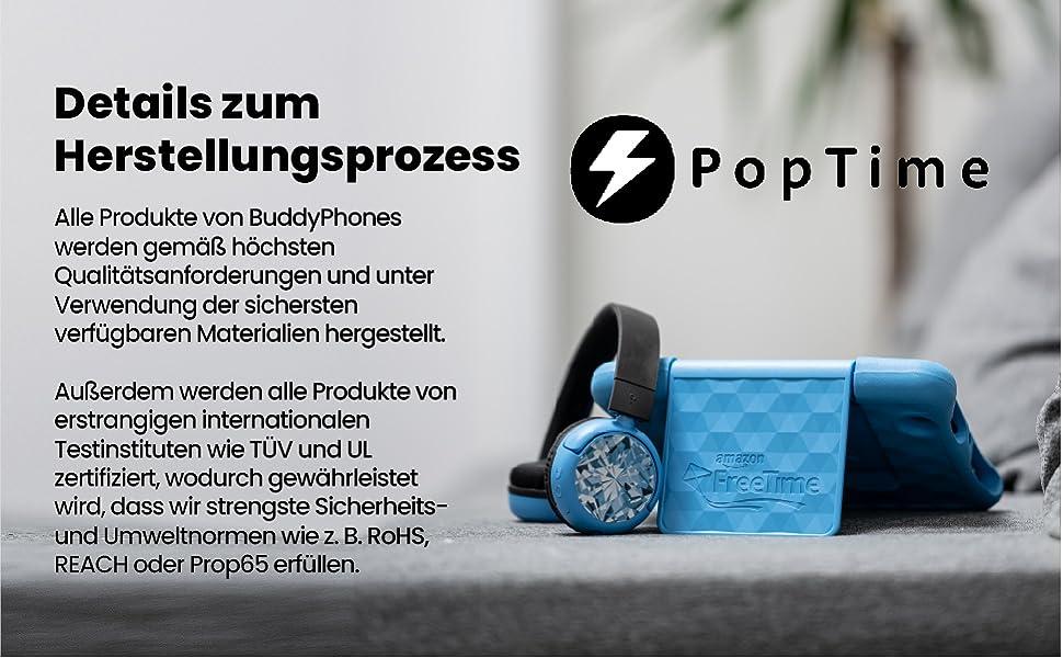 Buddyphones Poptime Brandneu Made For Amazon Blau Altersklasse 8 15 Jahre Kindle Shop