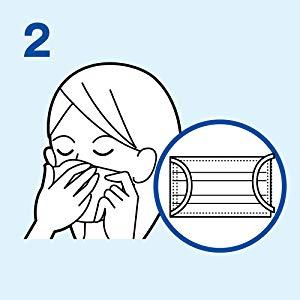 2.顔に当てて、ノーズワイヤーを鼻のカーブに合わせます。